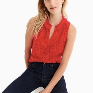 J. Crew Lace Ruffle-Neck Top in Red